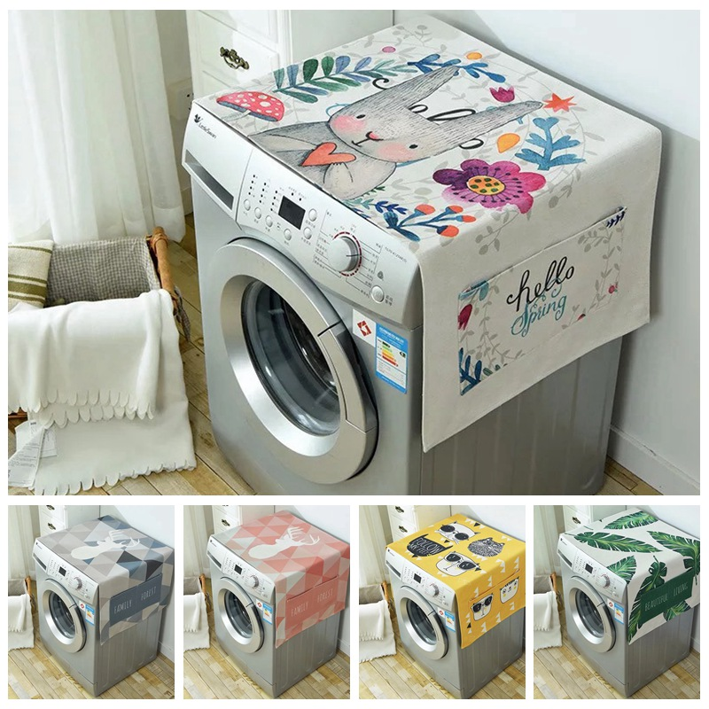 Geometric Rhombus Dust Covers Washing Machine Covers Refrigerator Dust With Pocket Cotton Linen Dust Covers Home Cleaning