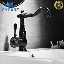 FYPARF Water Taps For Bathroom Sink Faucets Hot Cold Faucet For the Sink Black Bathroom Basin Faucets Single Handle Basin Mixer deck mounted short basin faucets orb finished basin hot and cold mixer faucets bathroom single handle sink taps faucet mixer