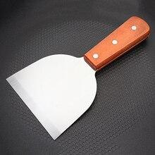 Нержавеющая сталь шпатель блинная Пицца Тернер деревянная ручка кухонный инструмент 18,5 см