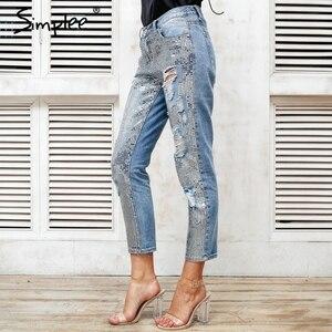 Image 2 - Simplee Sequin Gat Blauw Jeans Vrouwen Bodem Streetwear Rits Fringe Gescheurde Jeans Broek 2019 Lente Broek Losse Vrouwelijke Denim