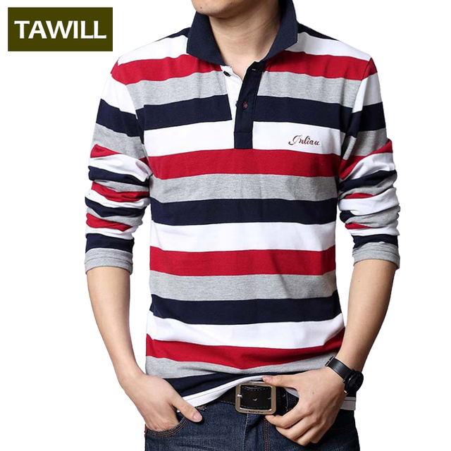 TAWILL 2016 Letters Embroidered Men Strip Polo Shirt Turn-down Collar Casual Cotton Polo Shirt Red Gray Green Asian Size M-5XL