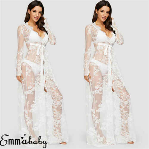 Batik Damen Strand Bikini Abdeckung Geschnürt Lang Kaftan Kleid Sommer Boho Maxi
