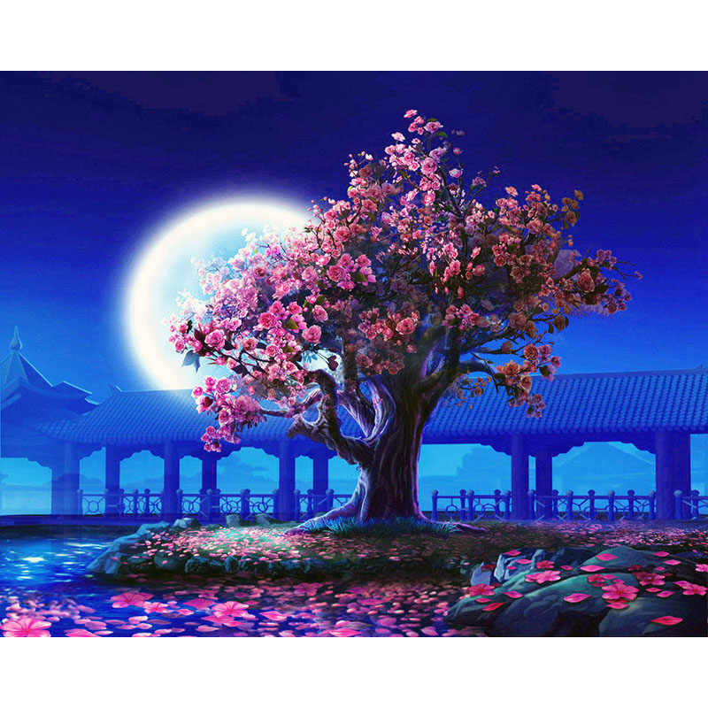 Moon and Sakura.40x50cm,Painting By Numbers,DIY,wall Art,Living Room Decoration,Scenery,Figure,Animal,Flower,Cartoon