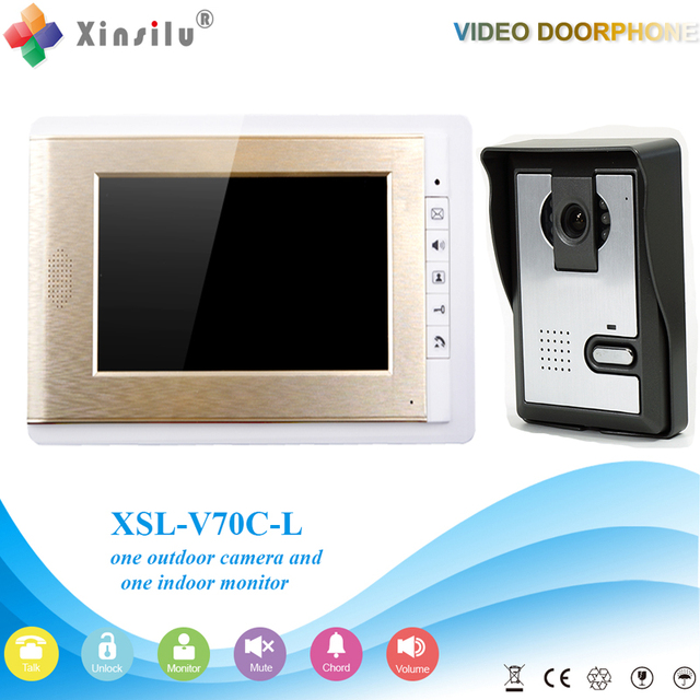 Xinsilu V70C-L Doorbell Camera With 4.3inch Door Viewer Indoor Monitor Out Door Phone Bell Video Photo IR Voice Unlock