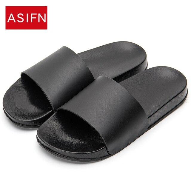 9d79214025fc ASIFN Men Slipper Casual Black And White Shoes Non-slip Slides Bathroom Summer  Sandals Soft ...