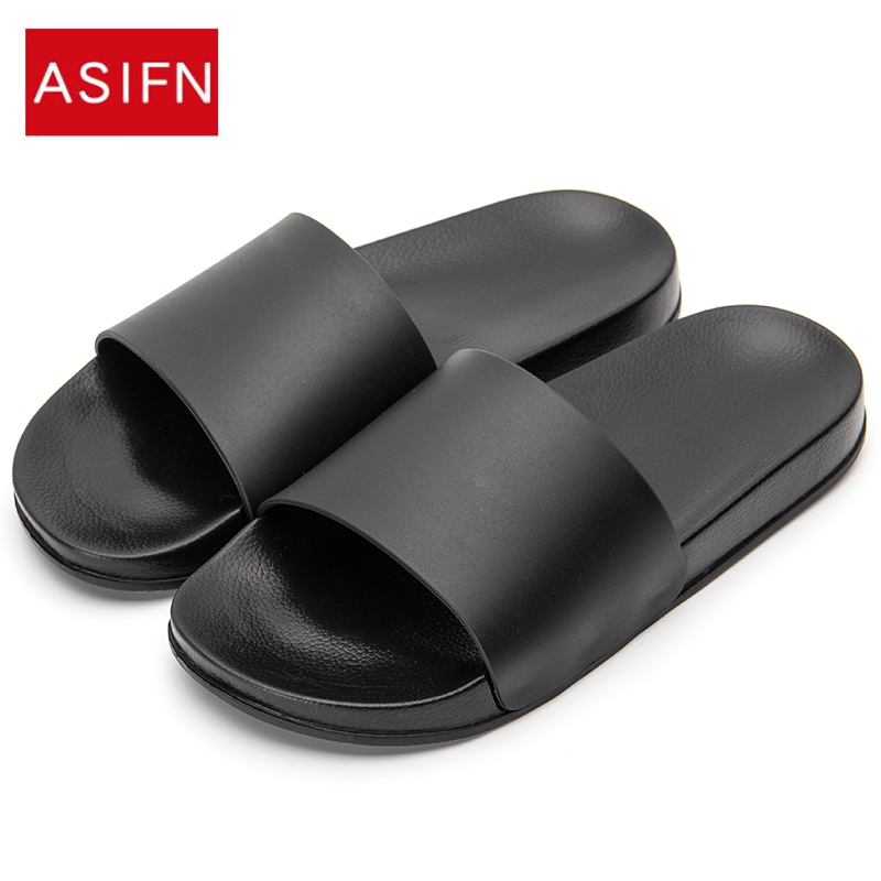 ASIFN Men Slippers Casual Black And White Shoes Non-slip Slides Bathroom Summer Sandals Soft Sole Flip Flops Man title=