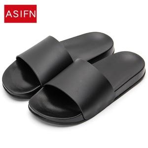 ASIFN Men Slippers Casual Black And White Shoes Non-slip Slides Bathroom Summer Sandals Soft Sole Flip Flops Man(China)