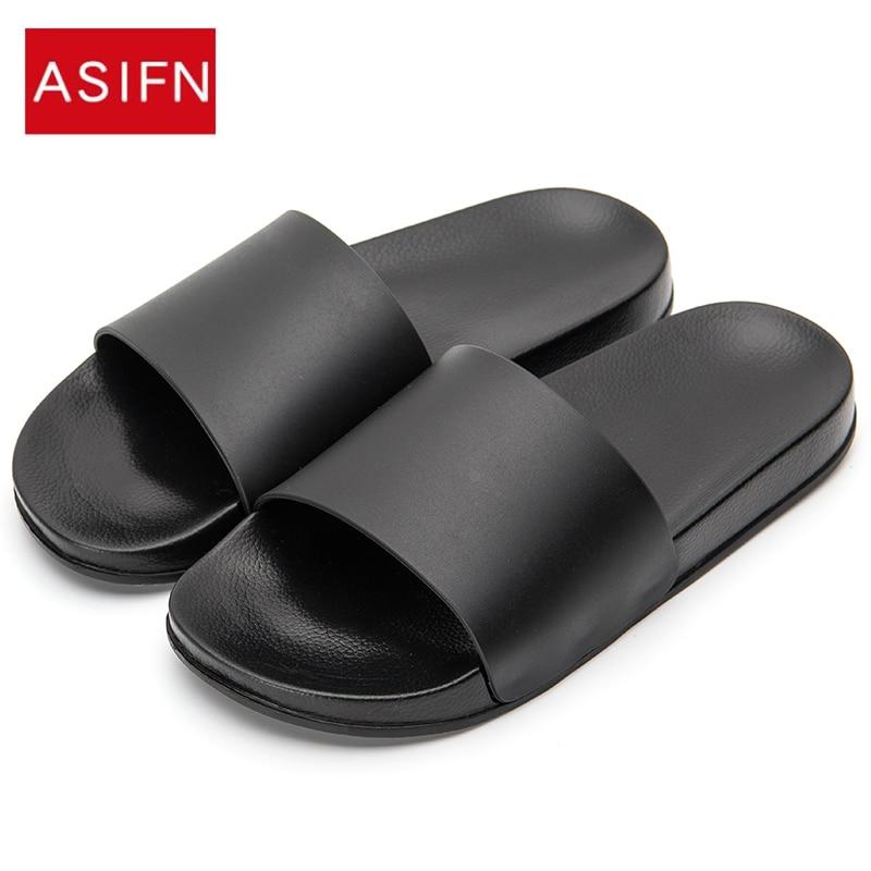 ASIFN/мужские шлепанцы; повседневная черная и белая обувь; нескользящие шлепанцы для ванной; летние сандалии на мягкой подошве для мужчин|Тапочки|   | АлиЭкспресс - Модные сандали