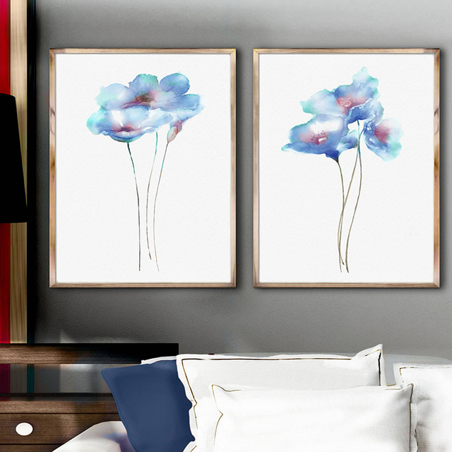 Framed Canvas Painting Watercolor Wall Art Print Poppies Blue Home ...