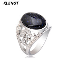 Natural Sandstone Stone Silver Ring for Women Blue Antique Oval setting Hollow out Crystal Tibetan Men Finger Rings Jewelry(China)