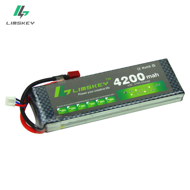 Limskey POWER 7.4V 4200mAh 25C 2S LiPo Battery With T/XT60 Plug for RC Car Airplane Helicopter