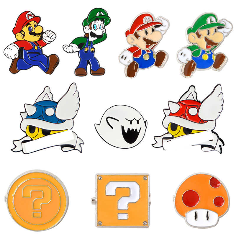Biru Shell Super Mario Kart Enamel Pin Komik Video Game Boo Hantu Kerah Pin Lencana Tombol Pin Denim PU Mantel punk Bros Hadiah