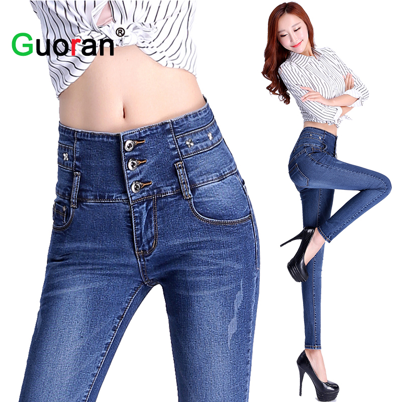{Guoran} High Waist Women Denim Jeans Pencil Pants Blue Washed Female Slim Skinny Trousers Plus Size Ladies Fashion Stretch pant hanlu spring hot fashion ladies denim pants plus size ultra elastic women high waist jeans skinny jeans pencil pants trousers