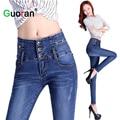 {Guoran} High Waist Women Denim Jeans Pencil Pants Blue Washed Female Slim Skinny Trousers Plus Size Ladies Fashion Stretch pant