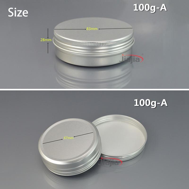 100g bijela aluminijska boca kozmetička krema jar 100ml prazan vosak - Alat za njegu kože - Foto 2