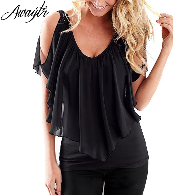 AWAYTR New Ruffles Women Tops Fashion Womens Summer Chiffon Blouse Plus Size 3XL Batwing Short Sleeve Casual Shirt
