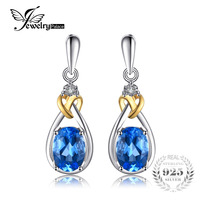 Love Knot 1 9ct Natural Blue Topaz Earrings Dangle Gemstone Inlay Diamond Solid 925 Sterling Silver