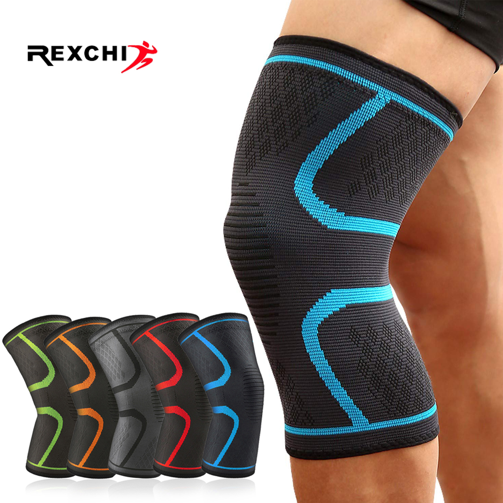 REXCHI 1 PC Elastic Knee Pads Nylon Sports Fitness Kneepad Protective Gear Patella Brace Support Running Basketball Volleyball