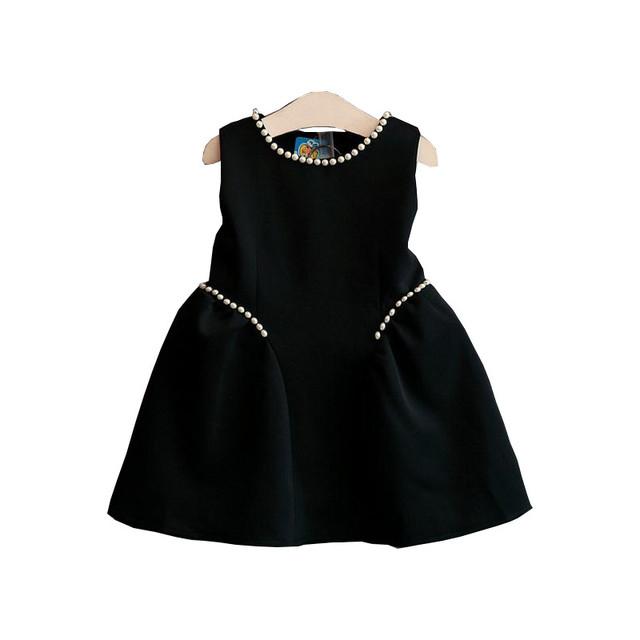 Niño Niños Ropa 2016 de La Moda Negro Sin Mangas Muchachas de Flor se Viste Para El Partido Y La Boda Vestido de Princesa Niñas 2-7años