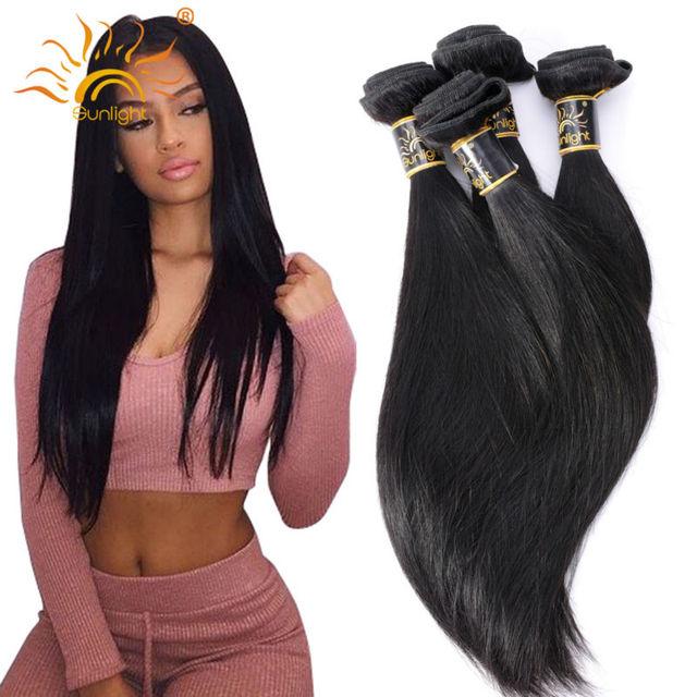 Бразильский Виргинский Волосы Прямые 100% Человеческих Волос, Плетение 4 Связки Прямо Бразильский Волосы Солнечный Королева Бразильской Прямые Волосы