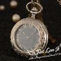Мода серебряный стали стимпанк механические карманные часы мужчины женщины ожерелье часы подарок FOB винтаж скелет карманные часы