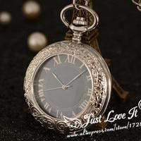 Fashion Silver Steel Steampunk Mechanical Pocket Watch Men Women Necklace Clock GIFT FOB Vintage Skeleton Pocket
