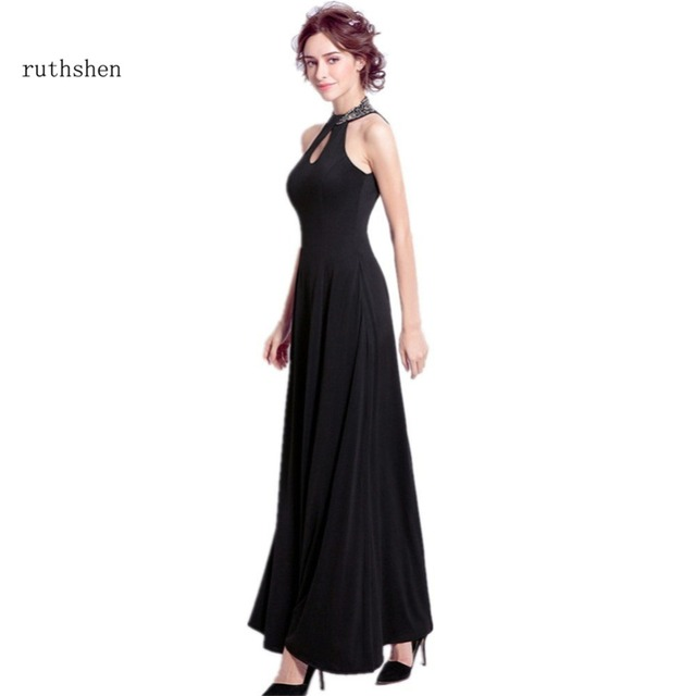 ruthshen Robe De Soiree Black Evening Dresses New Sequins Beaded Sexy Bling Bling Prom Gowns Cheap Women Special Occasion Dress