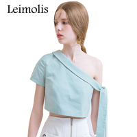 Leimolis 2017 Summer Princess Solid Mint Green Slash Neck Inclined Off Shoulder Harajuku Kawaii Cute Bow