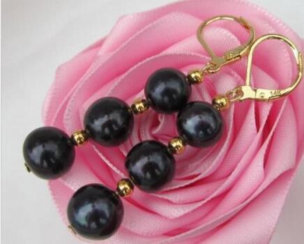 > благородный Jewelry AAA идеальный пресной воды черный жемчуг серьги 14 К золото