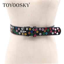 TOYOOSKY Fashion Women Belts Punk Rivets Hollow out Street Style Pin Buckle Waist for Jeans High Quality Female
