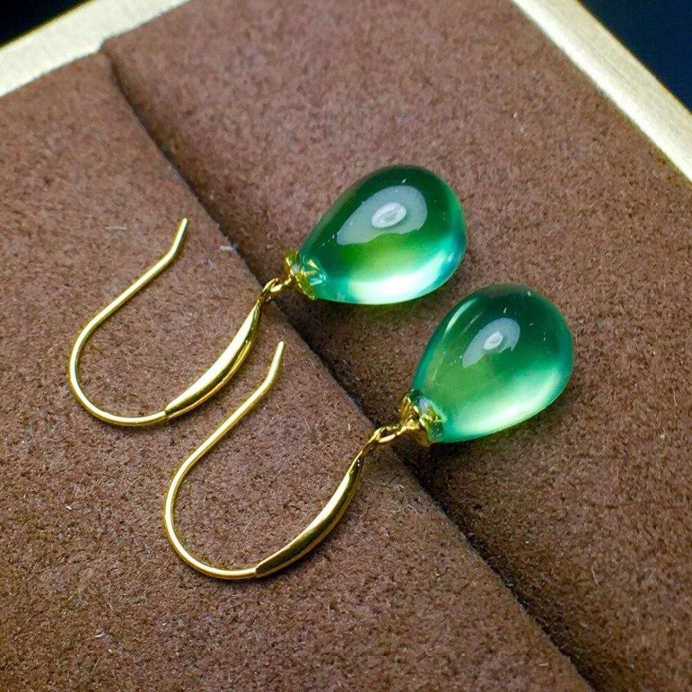 Mosaïque en or 18 K pureté naturelle Pure de cristal de compréhennite eardrop Boutique et pendentifs en or 18 K.