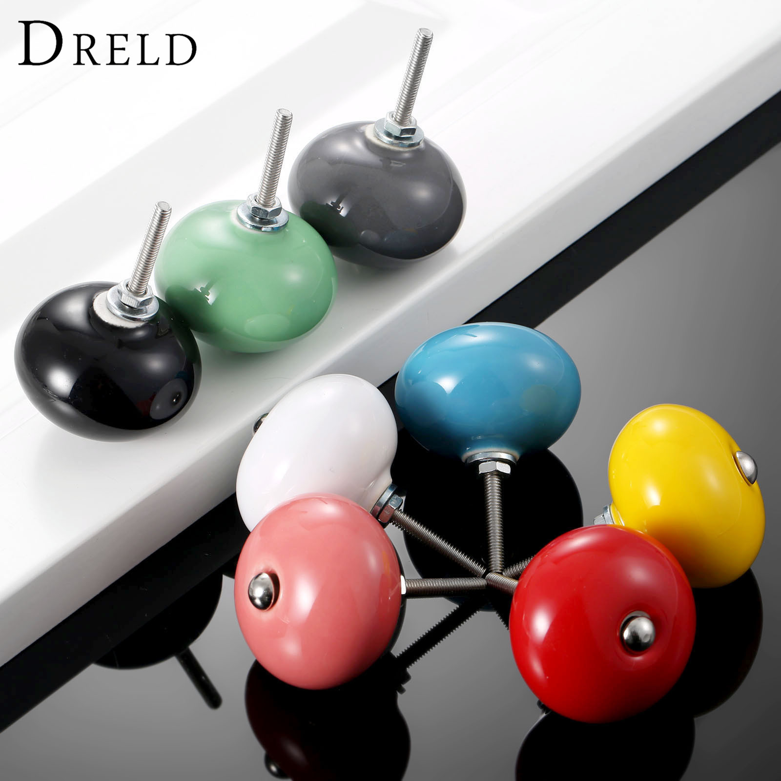 DRELD 1Pc Furniture Handle Round Door Knobs Ceramic Drawer Cabinet Knobs and Handle Cupboard Pull Handle Kitchen Accessories dreld 96 128 160mm furniture handle modern cabinet knobs and handles door cupboard drawer kitchen pull handle furniture hardware