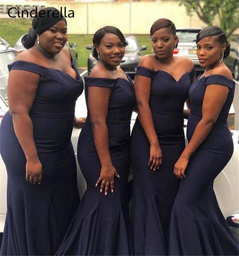Cinderella Navy/Pink/Red Sweetheart Off The Shouder Mermaid   Bridesmaid     Dresses   Zipper Back Trumpet Satin Fabric   Bridesmaid   Gowns
