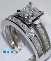 Queen brilliance 2 carat princess cut mejor calidad nscd diamante simulado anillo de compromiso set, Anillo De bodas, Sistema nupcial