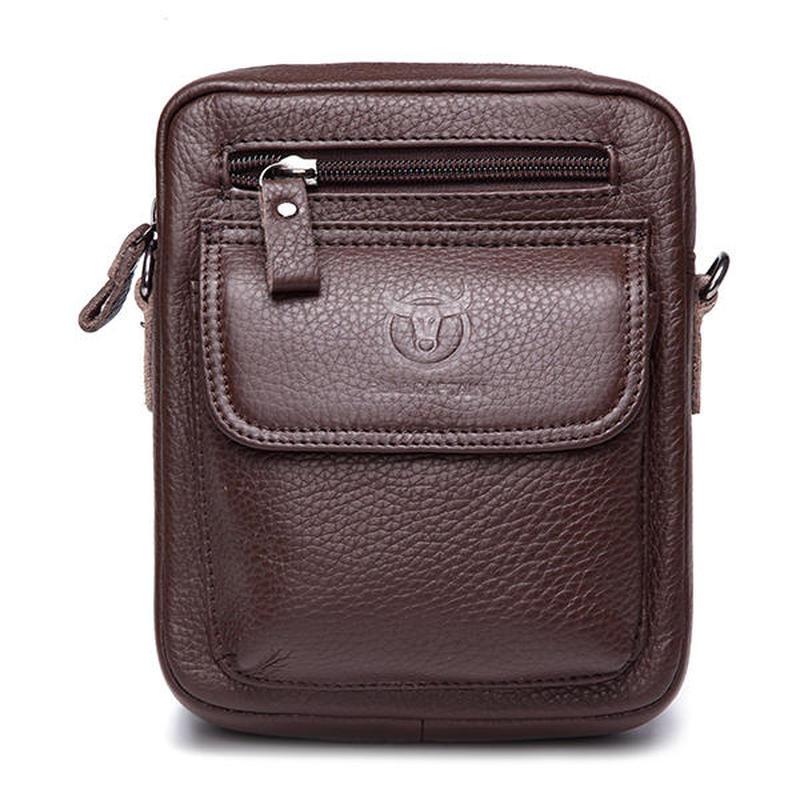 Bullcaptain SMALL FAMOUS BRAND MALE SHOULDER Men Business Bag Casual Male Shoulder Bag Sling Bag Genuine Leather Crossbody Bags цены