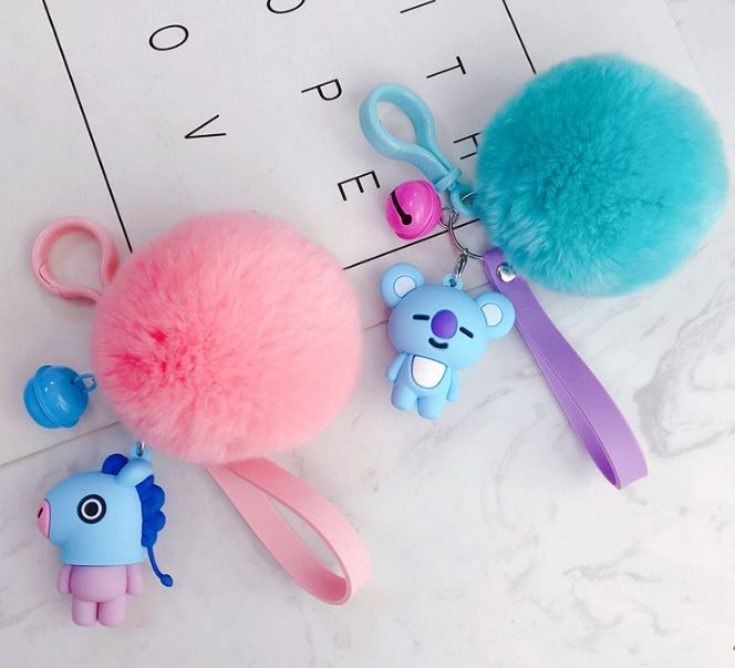 1 Pc Lovely Kpop Bts Bt21 Cartoon Fur Ball Keychain Plush Keychain Bag Pendant Accessories Keyring For Girls Plush Toy #5