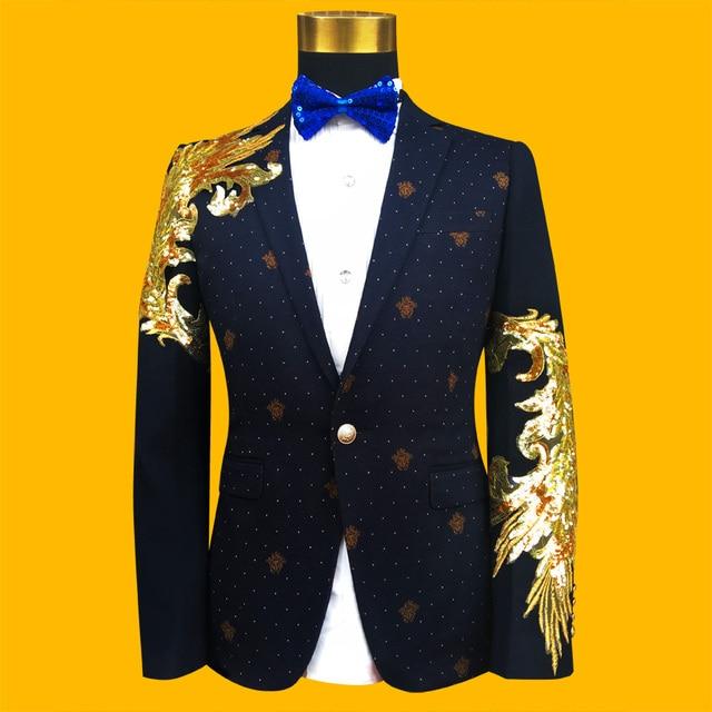 (Куртка + галстук) мужской пиджак пальто куртки вскользь формальные свадьба жених платье выпускного вечера партия певица синий цвет мужской наряд шоу