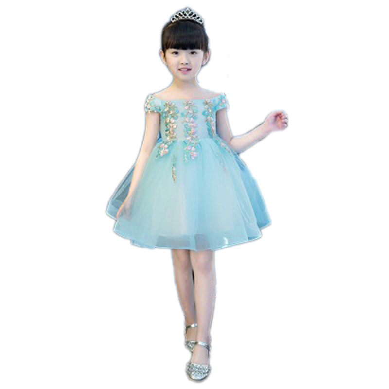Girls Embroidery Flower Dress Off The Shoulder Ball Gown Princess Mini Dress Kids Pageant Birthday Evening Communion Dresses E32