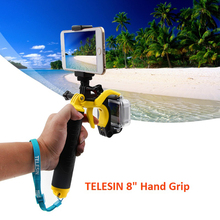 TELESIN 8 Inch Floating Trigger Hand Grip Floaty Handle with Phone Holder Adapter for GoPro Hero 5 Hero4 3/3+ Go Pro Accessories