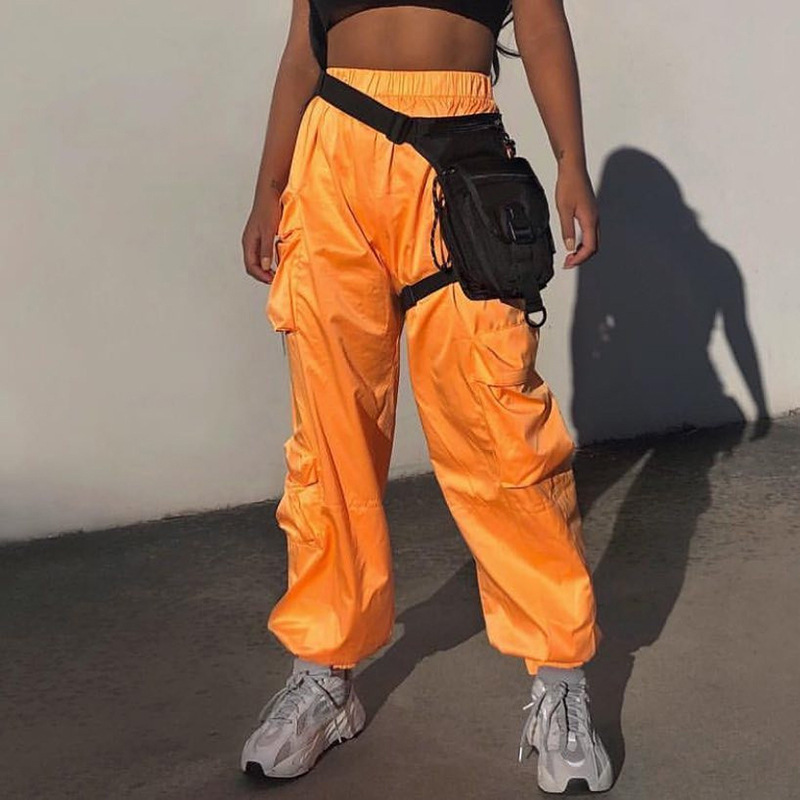 2019 Streetwear Cargo   Pants   Women Casual Joggers Gray High Waist Loose Female Trousers Korean Style Ladies   Pants     Capri   XM502