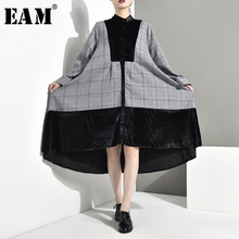 [EAM] Women Asymmetrical Plaid Velvet Big Size Dress New Stand Collar Long Sleeve Loose Fit Fashion  Spring Autumn 2019 JD0290