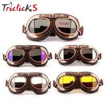 Triclicks винтажный шлем пилота стимпанк медные мотоциклетные очки ATV футболка Байкерская ретро унисекс очки солнцезащитные очки велосипедиста