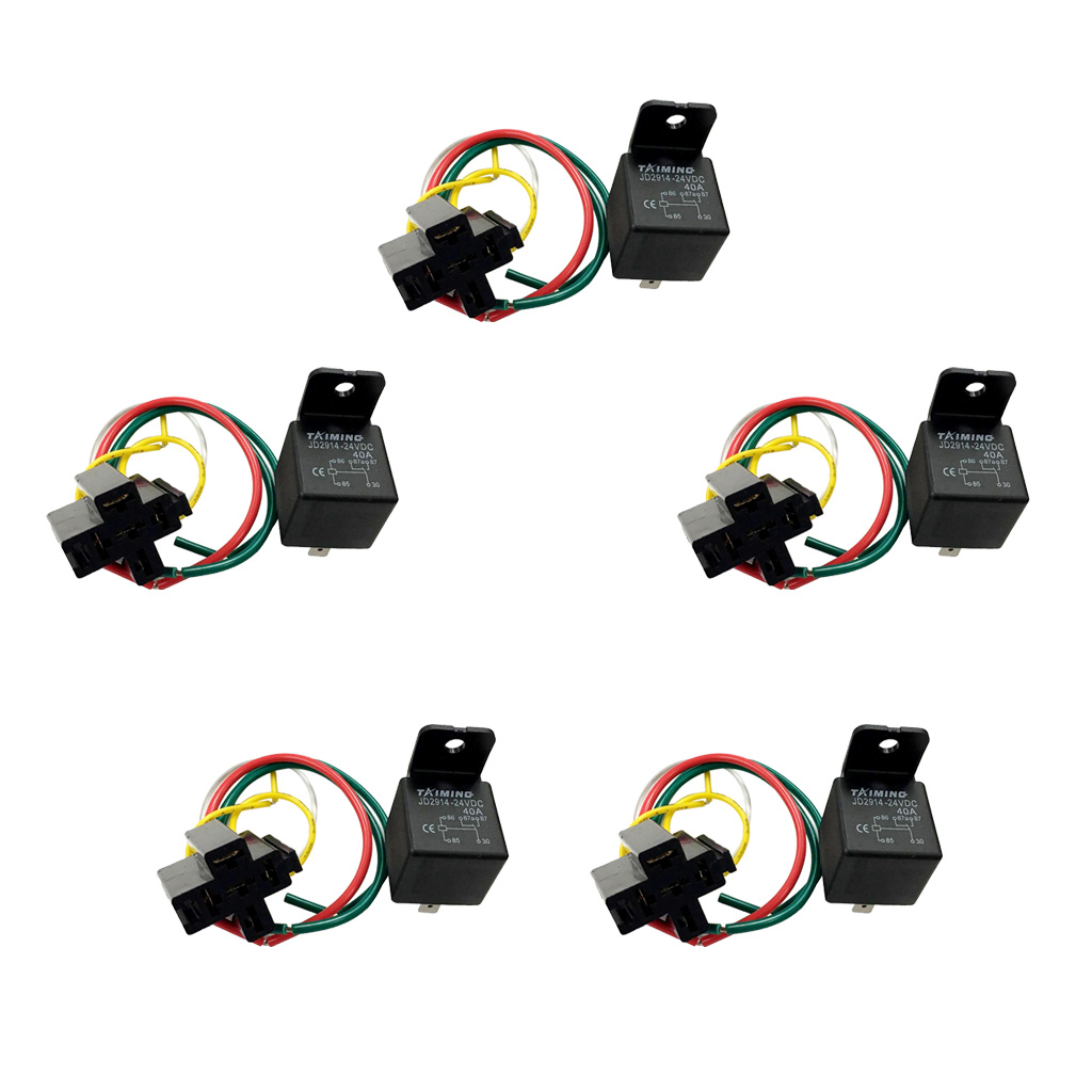 цена на 5Pcs 40A DC 24V Heavy Duty 5 PIN SPDT Relay with Prewired Socket Holder for Automotive Car