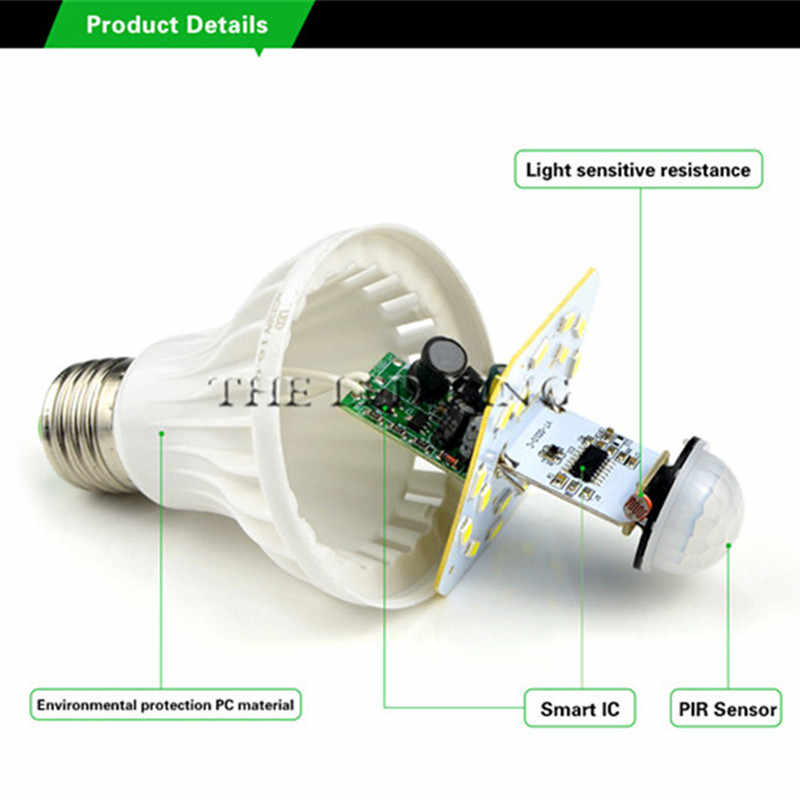 LED PIR MOTION SENSOR Lampu 5W 220 V LED Bulb 7 W 9 W 12 W 15W Auto smart LED Pir Infrared Tubuh Sound + Light E27 MOTION SENSOR Lampu
