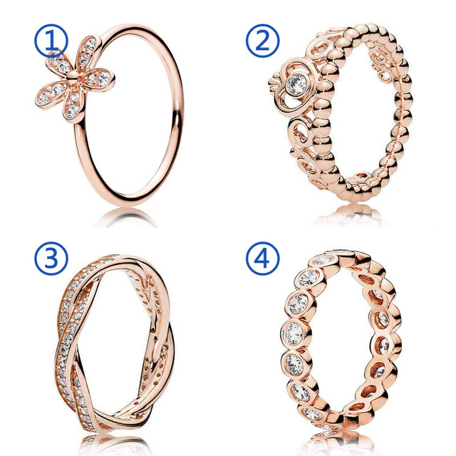 be61e0a78 30% 925 Silver Rose Gold Princess Tiara Alluring Brilliant Rings With  Crystal For Women Wedding Party Gift Fine Pandora Jewelry