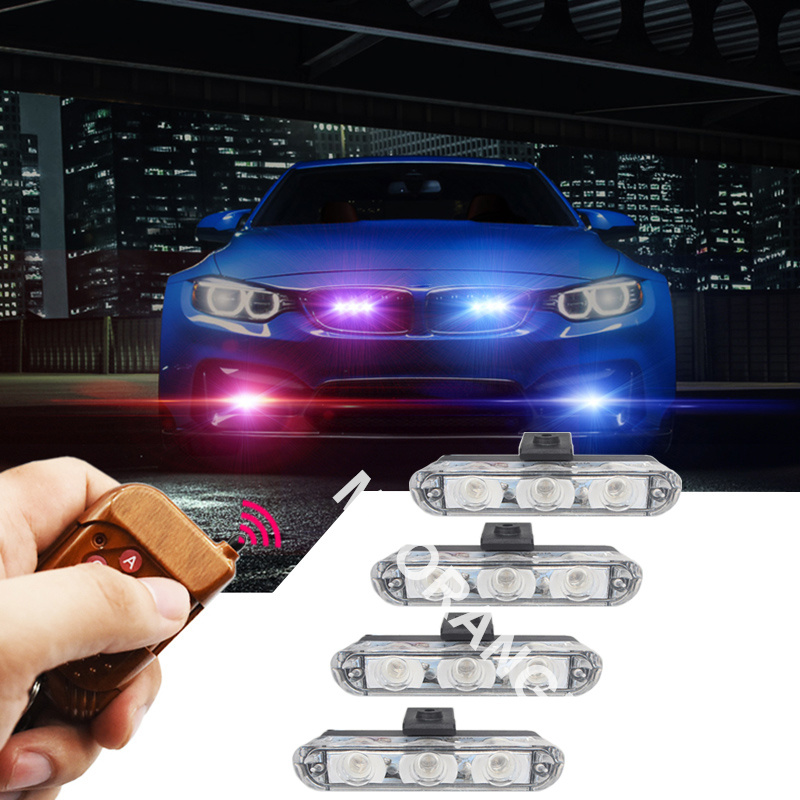 Best Quality 3LED * 4  Wireless car truck Strobe Emergency Warning Light for Deck Dash remote control police lights