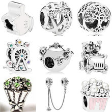 Vintage Silver Color Tree Map Teapot Flower Ferris Wheel Enamel Alloy Beads Fit Pandora Charm Bracelets for Women DIY Jewelry(China)