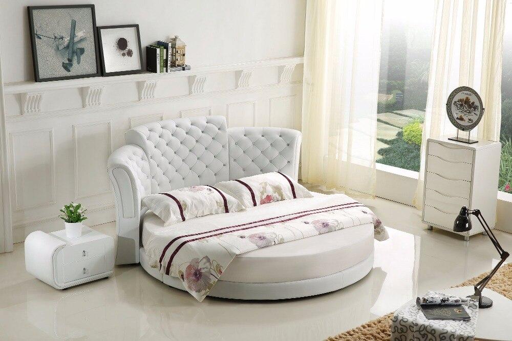 US $980.0 |2019 Nuovo No Cuoio Genuino Re Mobili Camera Da Letto Moderna  Muebles Para casa Vendita Calda Camera Da Letto Mobili Rotondo Moderno ...