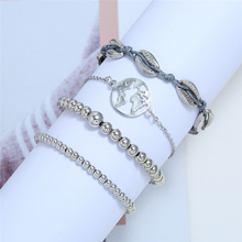 L&H 4PCS/Set Bohemia Style Silver Color Bracelets Set Different Size Beads For Women Simple Map/Shell Bracelet Bangles