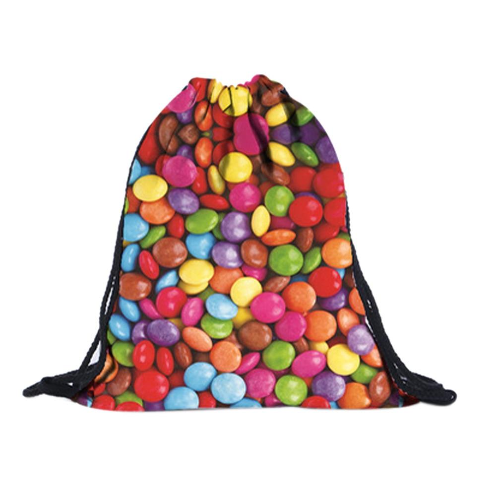 ISHOWTIENDA Drawstring Bag Drawstring Backpack Fashion Unisex Backpacks Colored Stones 3D Printing Bags Sac A Dos Ficelle